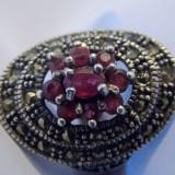 Inel argint rubine si marcasite - 239