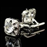 Butoni camasa cristale albe + cutie simpla cadou