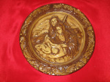 FARFURIE DE COLECTIE, anii 1900, ceramica smaltuita, basorelief tema religioasa