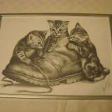 Pictura ce pare a fi executata in creion, semnata si datata 1998 - Pictor strain, Animale, Carbune, Realism