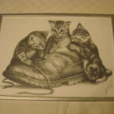Pictura ce pare a fi executata in creion, semnata si datata 1998, Animale, Carbune, Realism