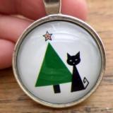 Pandantiv Craciun - pisica neagra si brad