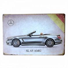 3321.Reclama metalica vintage Mercedes-Benz SL 65 AMG 30 cm X 20 cm - Cutie Reclama