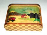 Cutie vintage din lemn de tip roll top, realizata manual in Japonia, anii '60