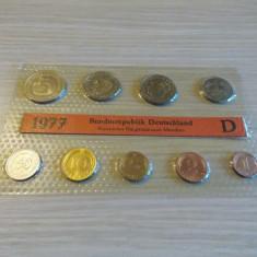 Set monede UNC -Germania 1977 -litera D, Europa