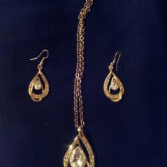 Set Aur- Alb - Filigran 18k - Safire Austria Cristal - Femei/Elegant/Cristale - Set bijuterii placate cu aur