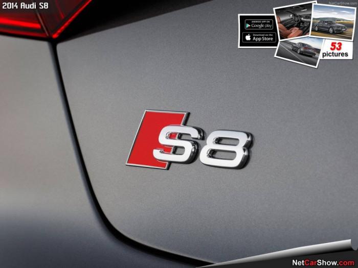 Emblema Logo AUDI S8 metal argintiu silver + adeziv 3m