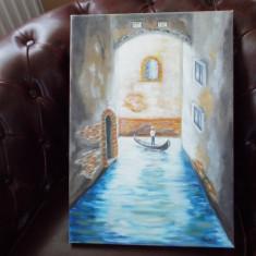 Tablou pictura gondolier, Peisaje, Guasa, Realism