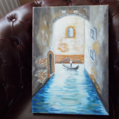 Tablou pictura gondolier - Pictor roman, An: 2013, Peisaje, Guasa, Realism