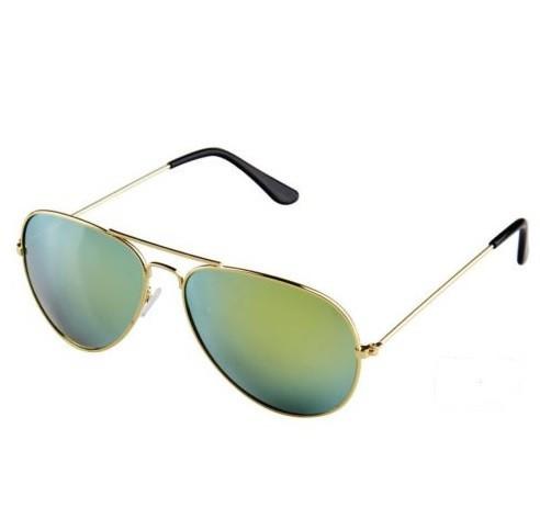 Ochelari de soare unisex model Aviator lentila anti-reflexie rama aurie gold uv