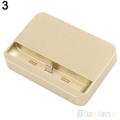 Dock auriu incarcare compatibil Iphone 5, 5s, 6 si 6 plus 5.5 + folie ecran - Dock telefon
