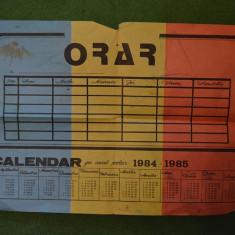 Calendar - orar pionieresc anul scolar 1984-1985, 30x20cm, cu tricolor - Calendar colectie