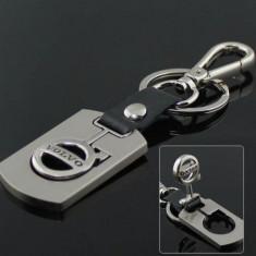 Breloc auto pentru Volvo metal argintiu cu piele eco+ cutie simpla cadou