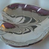 Frumoasa frunza din alama argintata, veche, mare, 3 picioruse, de colectie. - Metal/Fonta
