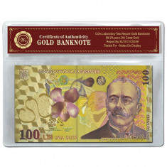 ROMANIA 100 LEI 2005 POLYMER AURIT AUR 24K IN POSETA CU CERTIFICAT AUTENTICITATE - Bancnota romaneasca