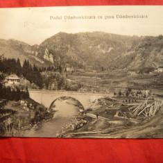 Ilustrata Podul si Gura Dambovicioarei, circulat 1909, tip UPU Ed.Campulung - Carte Postala Muntenia 1904-1918, Circulata, Printata