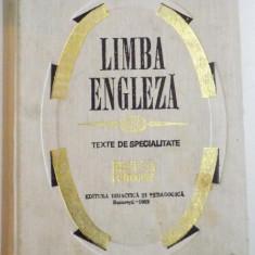 LIMBA ENGLEZA, VOL II : TEXTE DE SPECIALITATE, MEDICINA, FARMACIE de VENERA STEFANESCU, VIORICA DOBROVICI, 1969