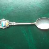 1. Lingurita placata cu argint, decorata cu medalion de portelan - Lubeck., Ornamentale