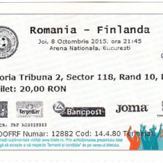 Bilet meci fotbal ROMANIA - FINLANDA 08.10.2015 (Calificari CE)