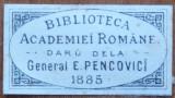Vigneta filatelica , Donatie General Pencovici , 1885 , necatalogata