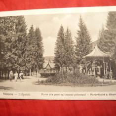 Ilustrata Valcele judet Covasna - 1924- Parcul si Izvorul principal - Carte Postala Transilvania dupa 1918, Circulata, Printata