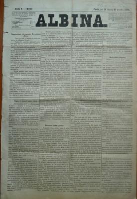 Ziarul Albina , nr. 17 , 1870 , Budapesta , in limba romana , Director V. Babes foto