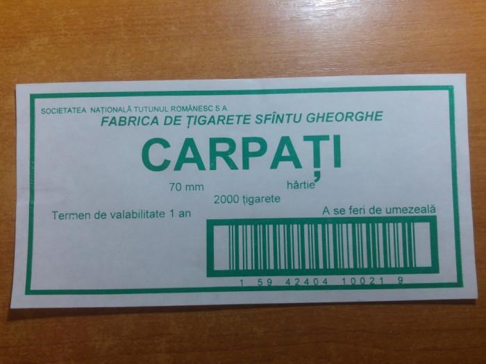 """eticheta originala pt bax tigari  romanesti""""carpati""""-fabrica sfantu gheorghe"""