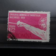 L453-Criteriul Mondial al tineretului la scrima-serie completa stampilata 1958 - Timbre Romania