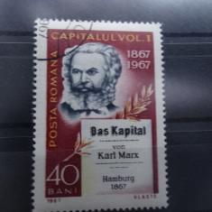 """LP661-100 ani de la aparitia lucrarii """"Capitalul"""" de Karl Marx-stampilat 1967"""
