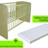 Patut Fara Sertar Klups Karolina Ii Natur + Saltea - Patut lemn pentru bebelusi