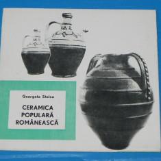 PLIANT publicitar CERAMICA POPULARA ROMANEASCA -GEORGETA STOICA fondul plastic - Album Muzee