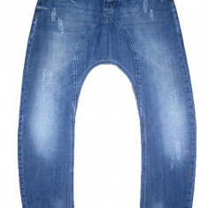 HUMOR Slim cu TUR LASAT - (MARIME: 30) - Talie = 82 CM, Lungime = 118 CM - Blugi barbati, Culoare: Albastru, Cu rupturi, Slim Fit