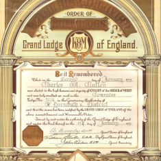Diploma masonica Royal Antediluvian Order of Buffaloes 1939