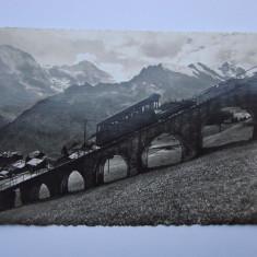 Carte postala circulata in anii 1920 - tren cu cremaliera, Elvetia, Belgia, Fotografie