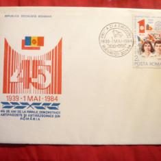 Plic FDC -Nicolae si Elena Ceausescu -45 Ani de la 1 Mai 1939 - 1984 Romania