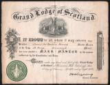 Diploma masonica Marea Loja a Scotiei 1929