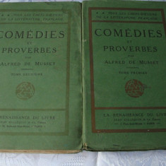 Alfred de Musset - Comedies et Proverbes - 2 volume - in franceza - interbelica - Carte in franceza