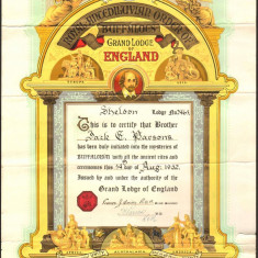 Diploma masonica extrem de decorativa - Marea Loja a Angliei