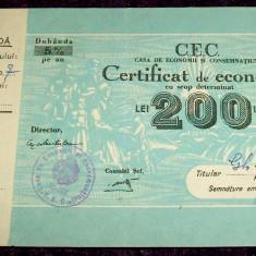1950 Certificat de economii de 200 Lei, talon dobanda CEC, stampila tip libret