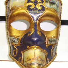 233-23 Masca venetiana carnaval pictata manual, model barbat - Masca carnaval, Marime: 34, Culoare: Coniac