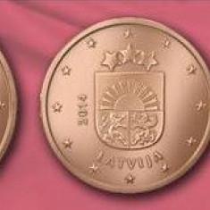 LETONIA 2014 mini SET monede euro (1c, 2c, 5c)-UNC, Europa, Cupru-Nichel
