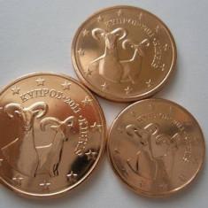 CIPRU 2010 mini SET monede euro (1c, 2c, 5c)-UNC, Europa, Cupru-Nichel