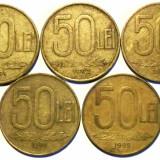 ROMANIA  LOT 50 LEI 1991, 1992, 1993, 1994, 1995, 5.9 g, 26 mm **