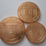MALTA 2008 mini SET monede euro (1c,2c,5c)-UNC, Europa, Cupru-Nichel