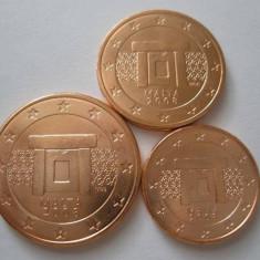 MALTA 2008 mini SET monede euro (1c, 2c, 5c)-UNC, Europa, Cupru-Nichel