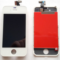 Display LCD cu Touchscreen Retina Complet Apple iPhone 4 4G White Alb - ORIGINAL, iPhone 4/4S