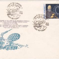 Bnk fil Plic ocazional Botosani 1990 - 20 ani Luna-17 cu Lunohod-1, Romania de la 1950, Spatiu