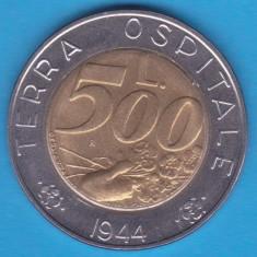 (M785) MONEDA SAN MARINO - 500 LIRE 1991, BIMETALICA - TERRA OSPITALE 1944, Europa