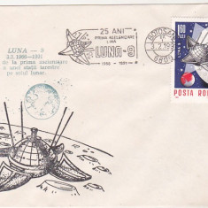 Bnk fil Plic ocazional Botosani 1991 - 25 ani de la aselenizarea Luna-9, Romania de la 1950, Spatiu