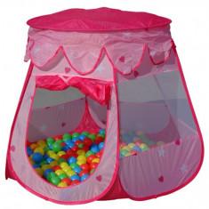 Cort de joaca cu 100 bile colorate - Casuta copii, 2-4 ani, Fata, Roz, Plastic